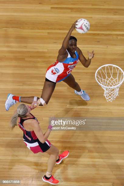 Sam Wallace of the Swifts catches the ball during the round six Super Netball match between the Swifts and the Thunderbirds at Quay Centre on June 3...