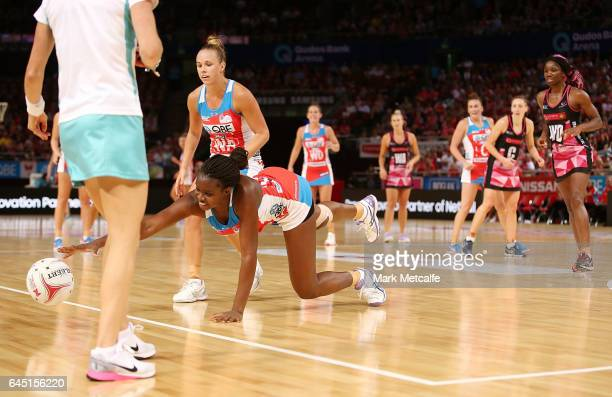 Sam Wallace of the Swifts dives for the ball during the round two Super Netball match between the Sydney Swifts and the Adelaide Thunderbirds at...