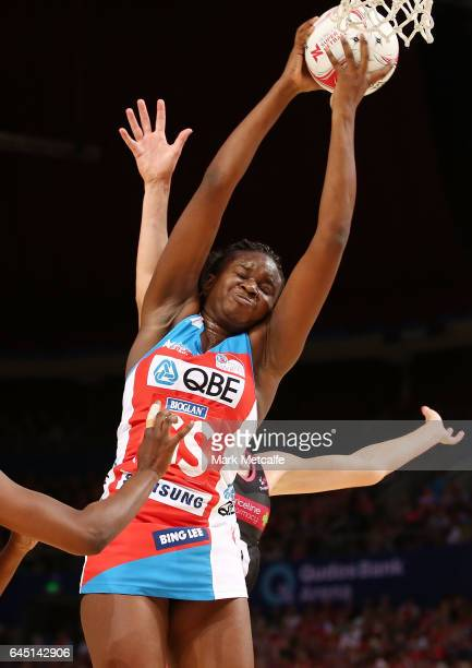 Sam Wallace of the Swifts in action during the round two Super Netball match between the Sydney Swifts and the Adelaide Thunderbirds at Qudos Bank...