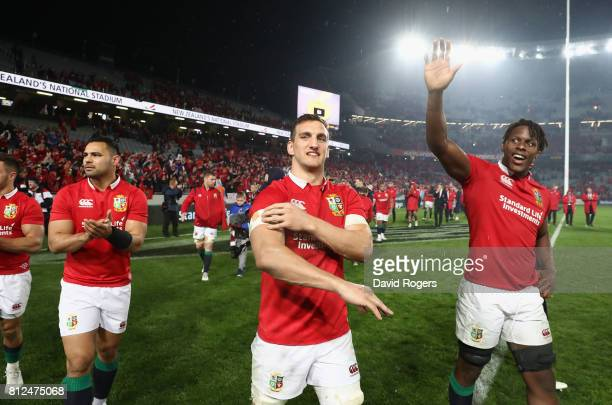 Sam Warburton and Maro Itoje of the Lions acknowedge the support of the Lions supporters after they draw the final test 15-15 and tie the series...