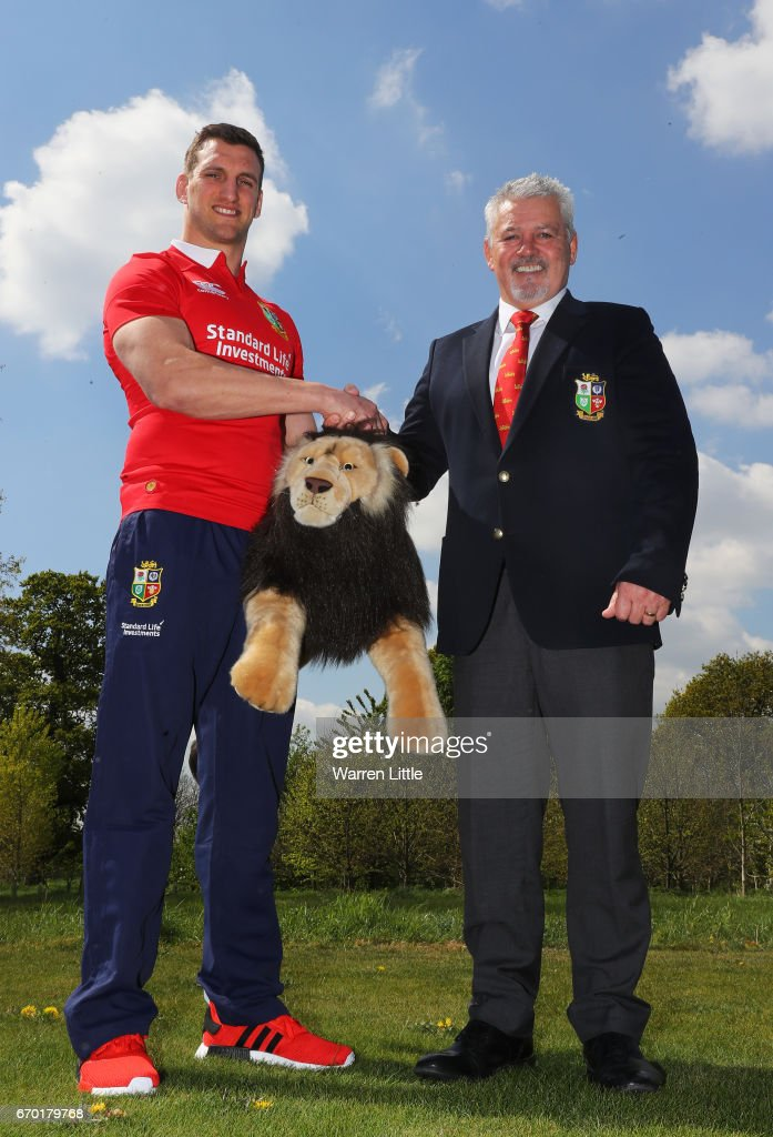 Sam Warburton (Captain) and Warren Gatland (Head Coach) shake hands during the British and Irish Lions tour squad announcement at the Hilton London Syon Park Hotel on April 19, 2017 in London, England.