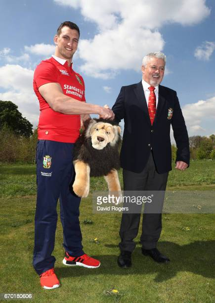 Sam Warburton and Warren Gatland shake hands during the British and Irish Lions tour squad announcement at the Hilton London Syon Park Hotel on April...