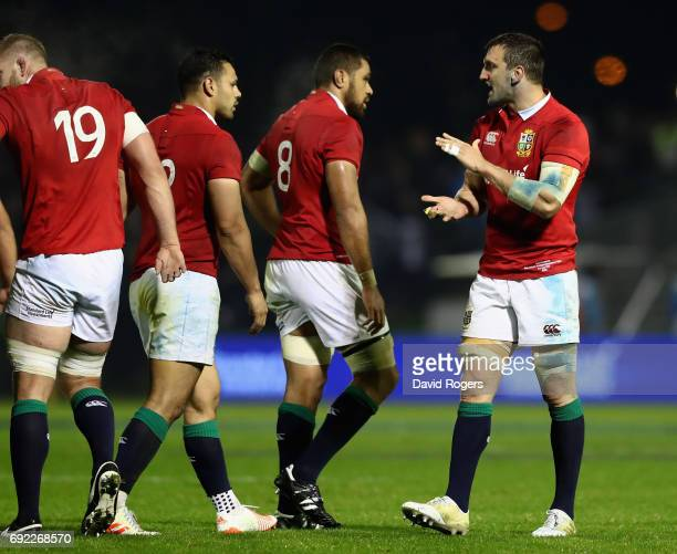 Sam Warburton captain of the Lions issues instructions to his team during the match between the New Zealand Provincial Barbarians and the British...