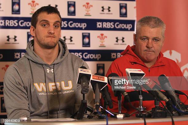 Sam Warburton captain of Wales alongside head coach Warren Gatland during the Wales rugby press conference at Vale Resort on February 21 2012 in...