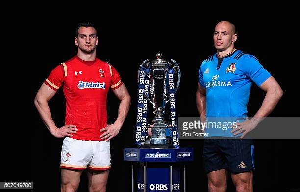 Sam Warburton captain of Wales and Sergio Parisse captain of Italy pose with the trophy during the RBS Six Nations launch at The Hurlingham Club on...