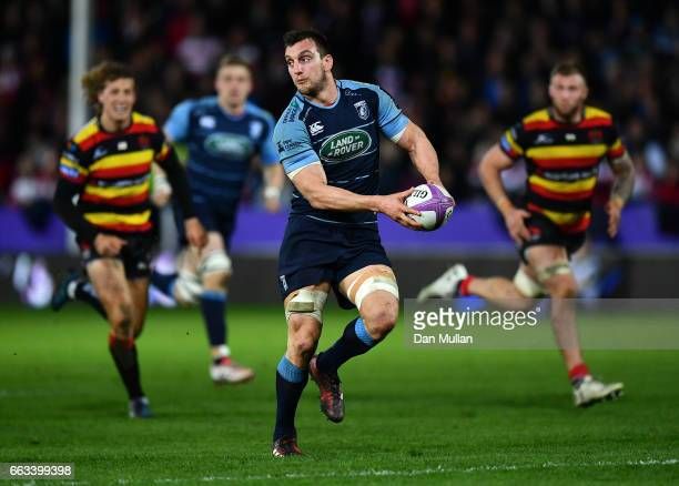 Sam Warburton of Cardiff Blues looks for a pass after making a break during the European Rugby Challenge Cup quarter final match between Gloucester...