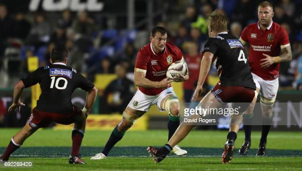 Sam Warburton of the Lions charges upfield during the match between the New Zealand Provincial Barbarians and the British Irish Lions at Toll Stadium...