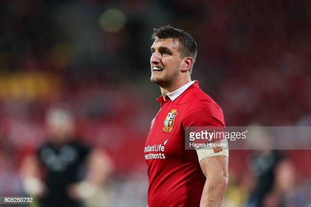 Sam Warburton of the Lions looks on during the International Test match between the New Zealand All Blacks and the British & Irish Lions at Westpac...