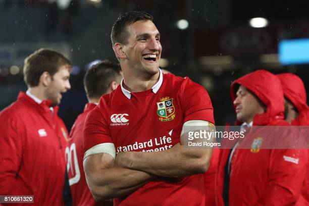 Sam Warburton of the Lions looks on following the drawn series during the third test match between the New Zealand All Blacks and the British & Irish...