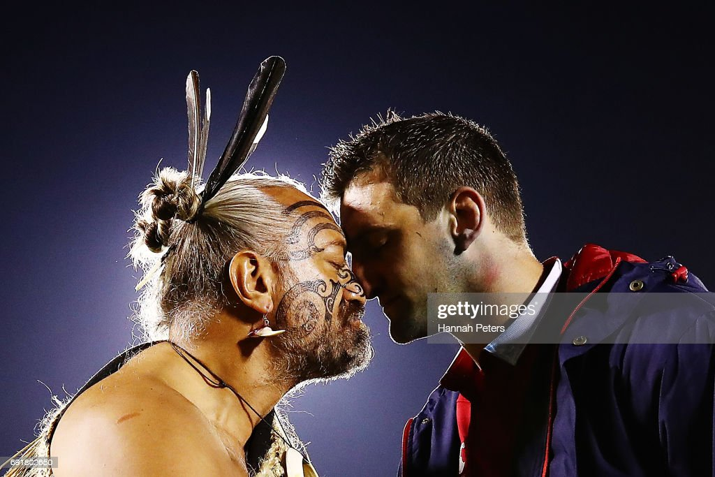 Sam Warburton of the Lions receives a hongi from a Maori Chief after winning the match between the New Zealand Provincial Barbarians and British & Irish Lions at Toll Stadium on June 3, 2017 in Whangarei, New Zealand.