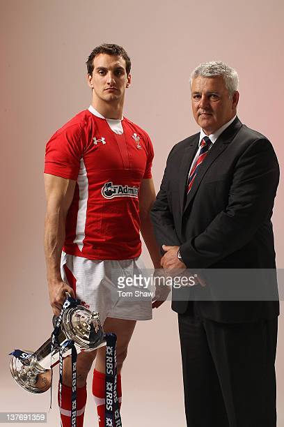 Sam Warburton of Wales and Head Coach Warren Gatland of Wales poses with the RBS Six Nations Trophy during the RBS Six Nations Launch at The...