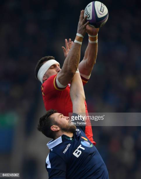 Sam Warburton of Wales and Ryan Wilson of Scotland compete for lineout ball during the RBS Six Nations match between Scotland and Wales at...