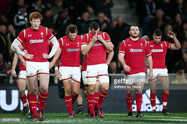 Sam Warburton of Wales and the team look on during the International Test match between the New Zealand All Blacks and Wales at Forsyth Barr Stadium...