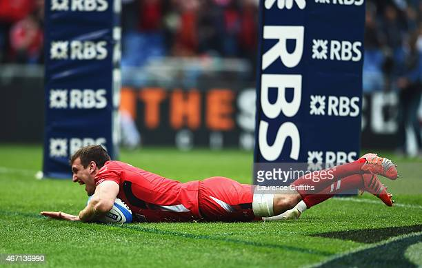 Sam Warburton of Wales celebrates going over for his try during the RBS 6 Nations match between Italy and Wales at Stadio Olimpico on March 21 2015...
