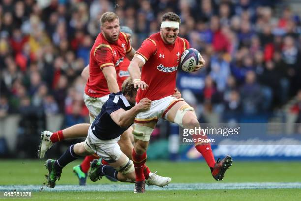 Sam Warburton of Wales is tackled by Richie Gray of Scotland during the RBS Six Nations match between Scotland and Wales at Murrayfield Stadium on...