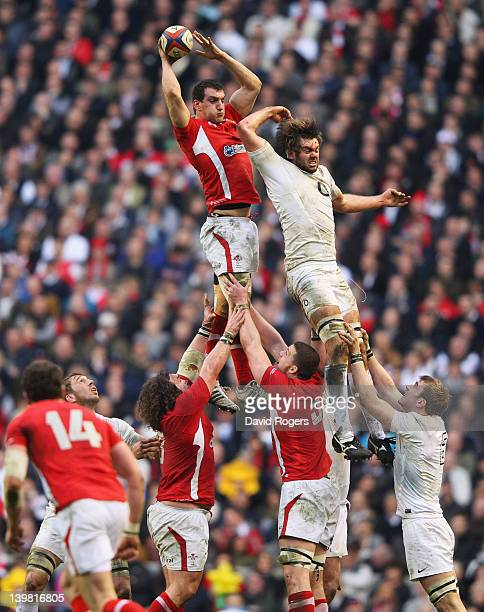 Sam Warburton of Wales jumps for the lineout ball with Geoff Parling of England during the RBS 6 Nations match between England and Wales at...