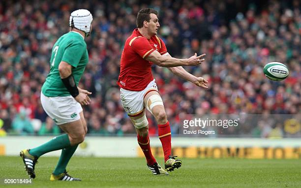 Sam Warburton of Wales passes the ball during the RBS Six Nations match between Ireland and Wales at the Aviva Stadium on February 7 2016 in Dublin...