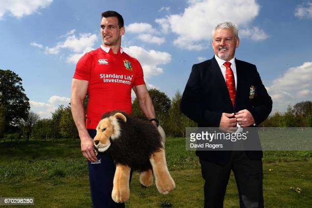 Sam Warburton poses for the cameras with head coach Warren Gatland during the British and Irish Lions Tour Squad and Captain annoucement at London...