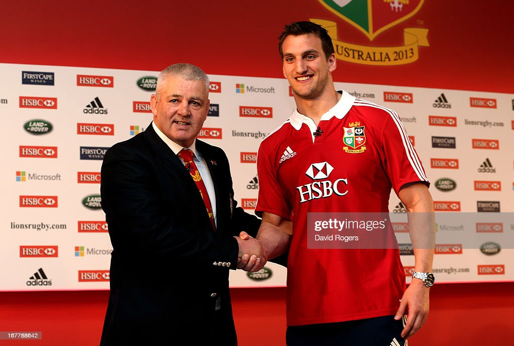 Sam Warburton (R) The British and Irish Lions Captain shakes hands with Warren Gatland the British and Irish Lions Head Coach during the 2013 British and Irish Lions tour squad and captain announcement at London Syon Park Hotel on April 30, 2013 in London, England.