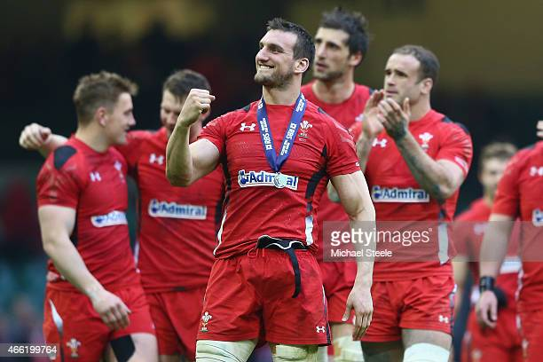 Sam Warburton the captain of Wales celebrates his sides 2316 victory on a lap of honour during the RBS Six Nations match between Wales and Ireland at...