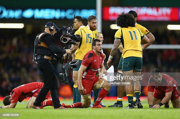 Sam Warburton the captain of Wales looks dejected at the final whistle after his sides 2833 defeat during the International match between Wales and...