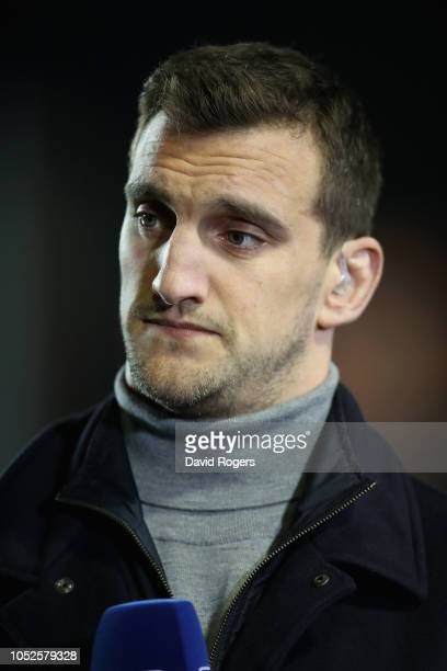 Sam Warburton, the former Wales international, now tv pundit looks on during the Champions Cup match between Leicester Tigers and Scarlets at Welford...