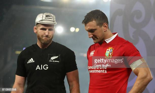 Sam Warburton the Lions captain and Kieran Read the All Black captain look on after their sides draw the final test 1515 and tie the series during...
