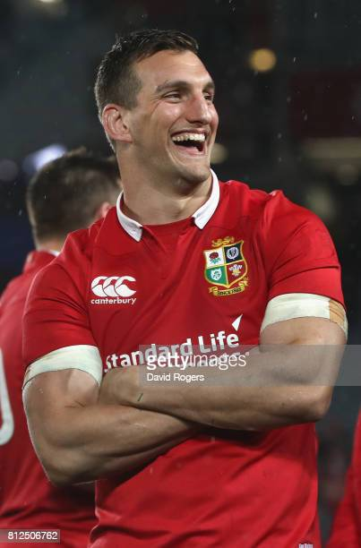 Sam Warburton, the Lions captain celebrates after they draw the final test 15-15 and tie the series during the Test match between the New Zealand All...