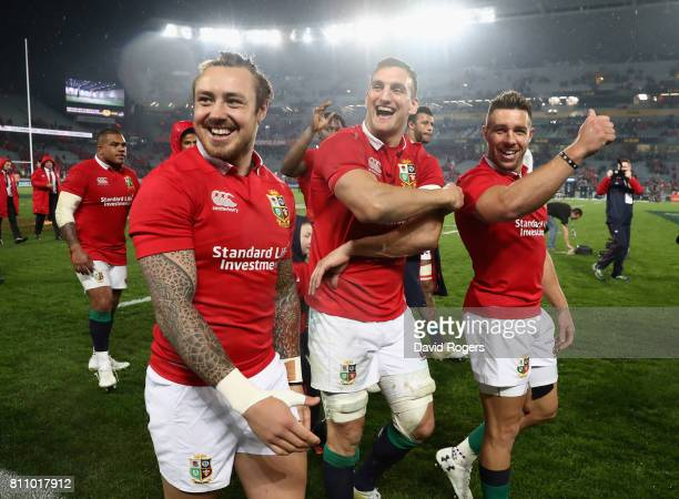 Sam Warburton, the Lions captain, Jack Nowell and Rhys Webb acknowledge the Lions supporters after they draw the final test 15-15 and tie the series...