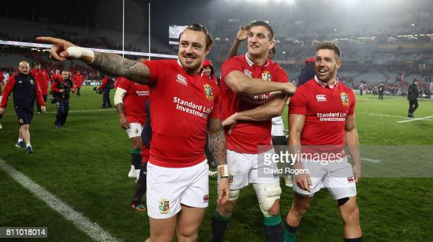 Sam Warburton the Lions captain Jack Nowell and Rhys Webb acknowledge the Lions supporters after they draw the final test 1515 and tie the series...