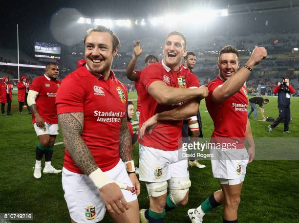 Sam Warburton, the Lions captain, Jack Nowell and Rhys Webb acknowledges the Lions supporters after they draw the final test 15-15 and tie the series...