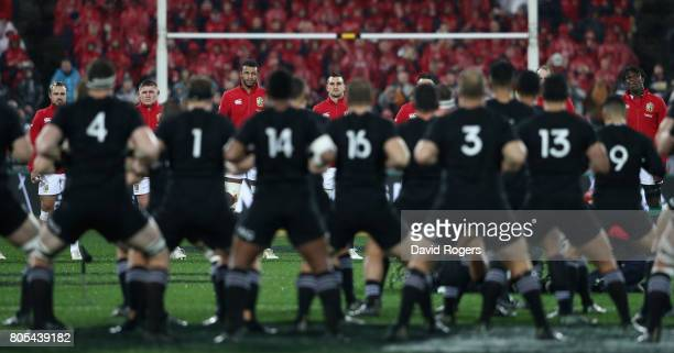 Sam Warburton the Lions captain lines up with his team against the All Blacks Haka during the match between the New Zealand All Blacks and the...
