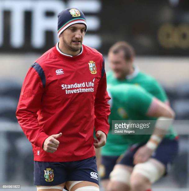 Sam Warburton the Lions captain looks on during the British Irish Lions captain's run held at the Forsyth Barr Stadium on June 12 2017 in Dunedin New...