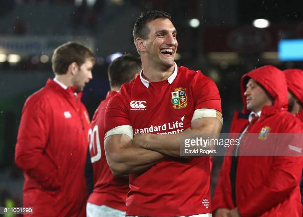 Sam Warburton, the Lions captain, smiles after his side draw the final test 15-15 and draw the series during the Test match between the New Zealand...