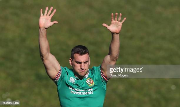Sam Warburton the Lions captain stretches during the British Irish Lions training session at Porirua Park on June 29 2017 in Wellington New Zealand