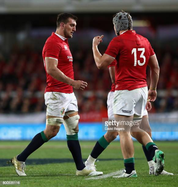 Sam Warburton the Lions tour captain looks dejected as he leads his team off the pitch after their defeat during the Test match between the New...