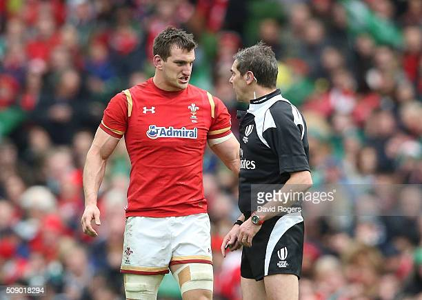 Sam Warburton the Wales captain taks to referee Jerome Garces during the RBS Six Nations match between Ireland and Wales at the Aviva Stadium on...