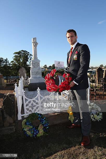 Sam Warburton tour captain of the British Irish Lions lays a wreath during a visit to the grave of 1888 Lions Captain Robert Seddon at the Campbells...