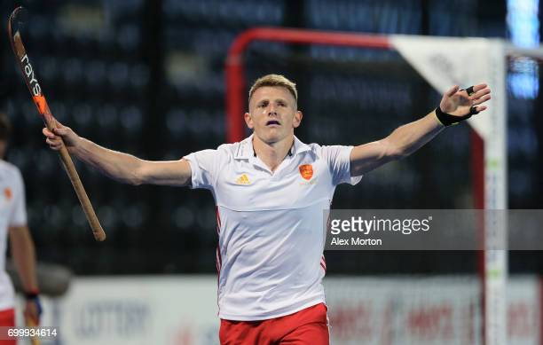Sam Ward of England celebrates scoring his teams fourth goal during the quarter final match between England and Canada on day seven of the Hero...