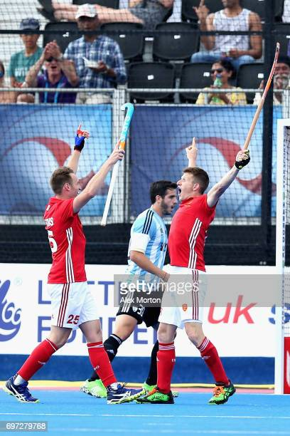 Sam Ward of England celebrates scoring the second goal for England during the Hero Hockey World League Semi Final match between Pakistan and India at...