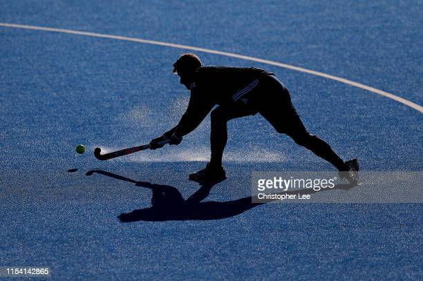 Sam Ward of Great Britain warms up during the Men's FIH Field Hockey Pro League match between Great Britain and Germany at Lee Valley Hockey and...