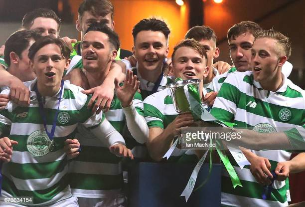 Sam Wardrop of Celtic lifts the trophy during The Scottish FA Youth Cup Final between Celtic and Rangers at Hampden Park on April 26 2017 in Glasgow...