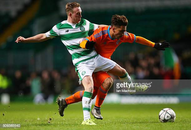Sam Wardrop of Celtic vies with Alvaro Gomez Martin of Valencia during the UEFA Youth Champions League match between Celtic and Valencia at Celtic...