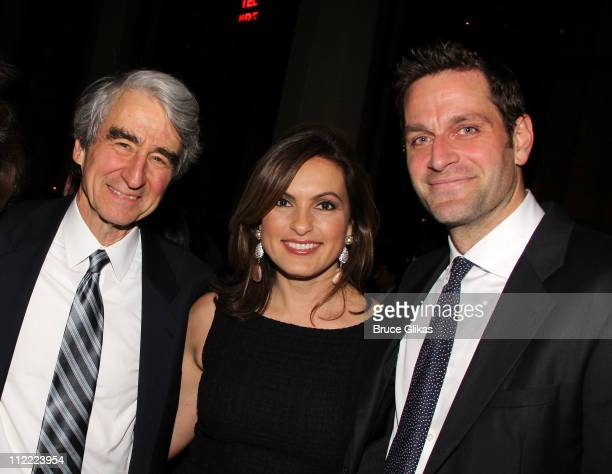 Sam Waterston Mariska Hargitay and Peter Hermann attend the opening night afterparty for 'War Horse' on Broadway at Avery Fisher Hall at Lincoln...