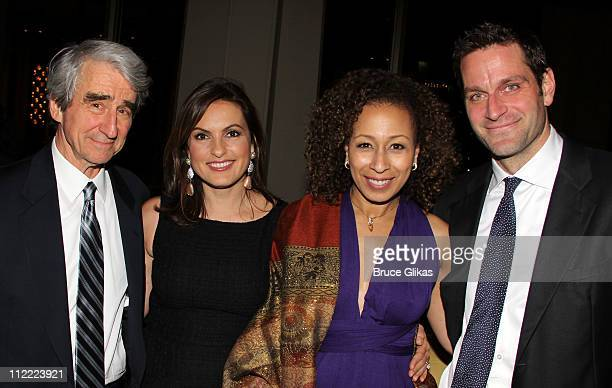 """Sam Waterston, Mariska Hargitay, Tamara Tunie and Peter Hermann attend the opening night after-party for """"War Horse"""" on Broadway at Avery Fisher Hall..."""
