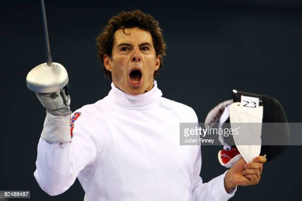 Sam Weale of Great Britain screams at the Men's Fencing Epee One Touch held at the Fencing Hall during Day 13 of the Beijing 2008 Olympic Games on...