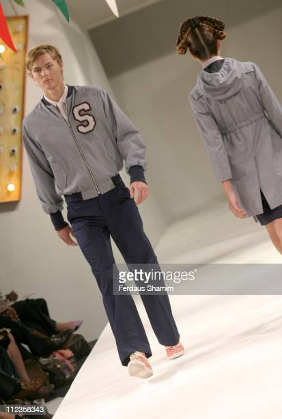 Sam wearing Peter Jensen Spring/Summer 2006 during London Fashion Week Spring/Summer 2006 Peter Jensen Runway and Backstage at Berkeley Square in...