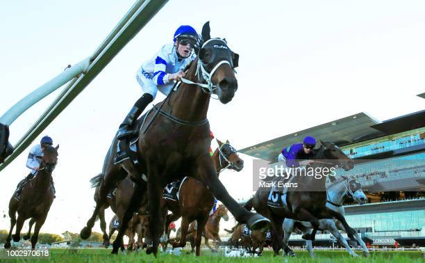 Kayla Nisbet on Seventhchic heads to the start of race 6 during Sydney Racing at Royal Randwick Racecourse on July 21 2018 in Sydney Australia
