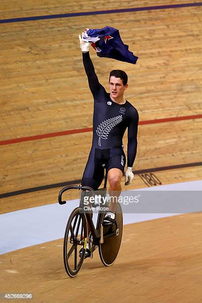 Sam Webster of New Zealand celebrates after winning the Men's Sprint Final at the Sir Chris Hoy Velodrome during day two of the Glasgow 2014...