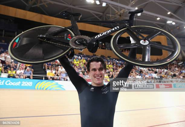 Sam Webster of New Zealand celebrates winning gold in the Men's Sprint Gold Final on day three of the Gold Coast 2018 Commonwealth Games at Anna...
